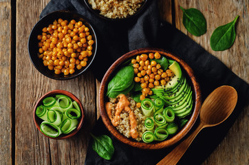 Roasted Chickpeas Spinach Quinoa Avocado Cucumber Buddha bowl
