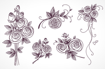 Roses set. Collection of roses bouquets. Stylized flower hand drawing.