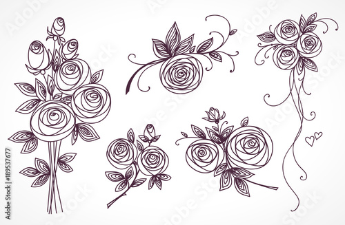 Contour Line Drawing Rose : Roses set collection of bouquets stylized flower hand