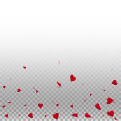 3d hearts valentine background. Scatter bottom gradient on transparent grid light background. 3d hearts valentines day quaint design. Vector illustration.