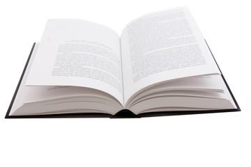 large opened hardcover book on white background