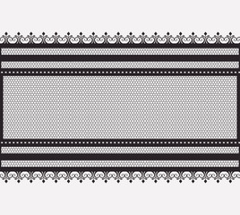 lace wide horizontal seamless in monochrome silhouette vector illustration