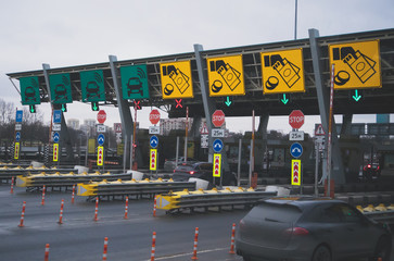 Toll road at the entrance to St. Petersburg.