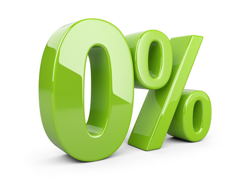 Glossy green zero percent or 0 % special Offer.