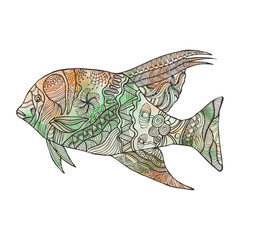 Hand drawn fish with doodle, zentangle, floral, vintage elements and watercolor background.