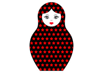 Matryoshka icon Russian nesting doll with red stars ornament , vector isolated