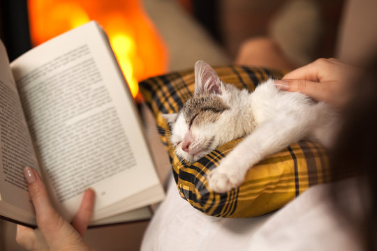 Woman reading by the fire and comforting her rescue kitten