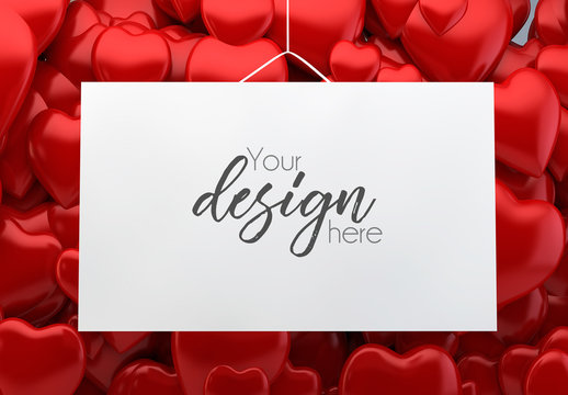 Hanging Card Mockup with Red Heart Background 1