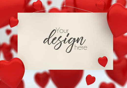 Hanging Card Mockup with Red Heart Background 2