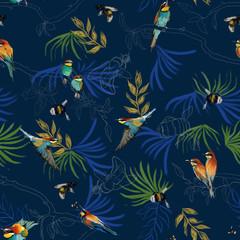 Seamless pattern of african bee eater