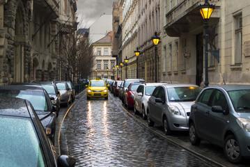 Budapest, Veres Pálné narrow street full of parked cars
