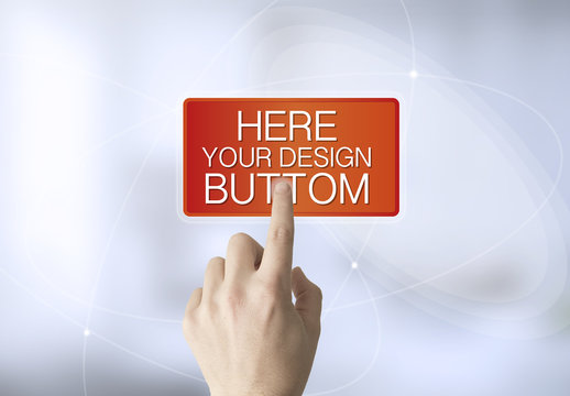 User Pressing Touch Screen Button Mockup 1
