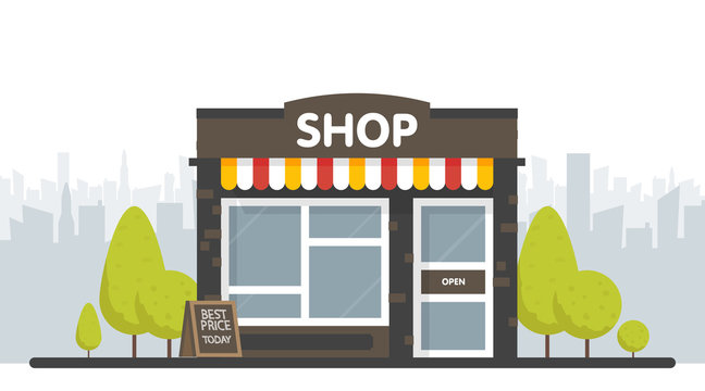 Vector shop or market store front exterior facade, vector illustration on sity space background