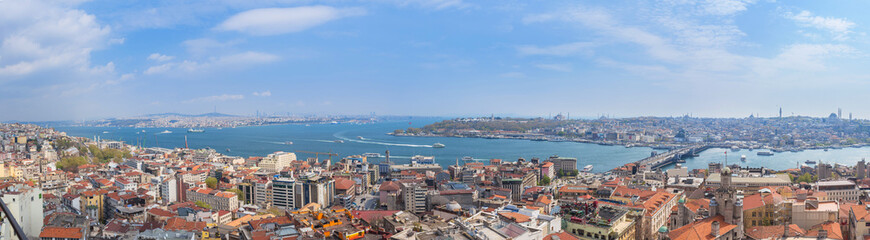 Fotobehang Napels Panoramic Golden Horn sunset view with Blue Mosque and Hagia Sophia from Galata tower