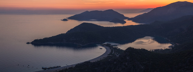Oludeniz landscape beautiful sunset lagoon in sea view of beach, Turkey.