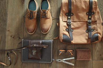 Men's accessories, bag and shoes, still life.