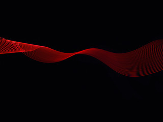 Red mesh material, against black background, creating abstract pattern