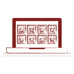 people picture profiles social network in laptop screen in dark red blurred silhouette vector illustration
