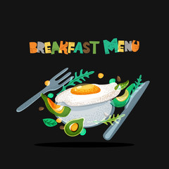 Breakfast menu healthy meal, vector design. Fried eggs, avocado on plate, seasoning, fork and knife on black background. Morning food hand drawn doodle illustration and letters.