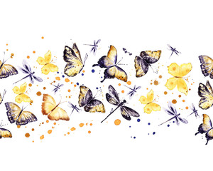 Flying Butterflies. Horizontal border. Watercolor different insects. Seamless stripe