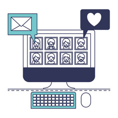 people picture profiles social network in desktop computer screen with dialogues mail and heart in blue color sections silhouette vector illustration