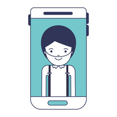 smartphone man profile picture with short hair and beard in blue color sections silhouette vector illustration