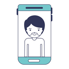 smartphone man profile picture with short hair and van dyke beard in blue color sections silhouette vector illustration