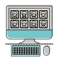 people picture profiles social network in desktop computer screen in watercolor silhouette vector illustration