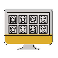 people gallery picture profiles social network in monitor screen in watercolor silhouette vector illustration