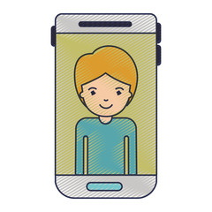 smartphone guy profile picture with short hair in colored crayon silhouette vector illustration