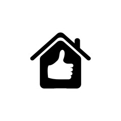 house with a raised finger icon. Elements of real estate transactions icon for concept and web apps. Illustration  icon for website design and development, app development