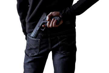 Robber or gangster,thief holding gun in hand hide weapon for killed and shoot on white isolated background