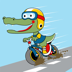 little monster cartoon with bicycle on the road