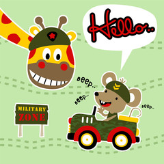 happy animals cartoon playing with military equipment