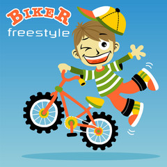 little boy cartoon with bicycle