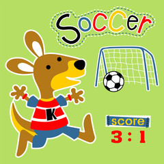 playing soccer with funny animal