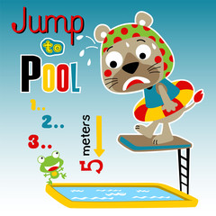 funny animals cartoon in swimming pool