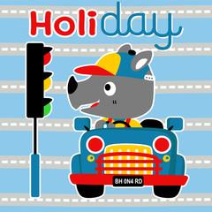 holiday trip with cute rhino on little car
