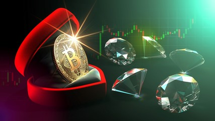 Bitcoin in a ring box with diamonds in background.3D Render.002