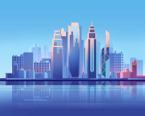 Hong Kong skyscraper city  flat graphic style illustration.