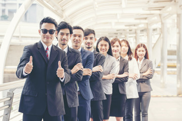 Team meeting introduce company worker in conference room. Diversity of Friend and student in Teams. Partner Team Shake hands together. Business Meeting Concept.