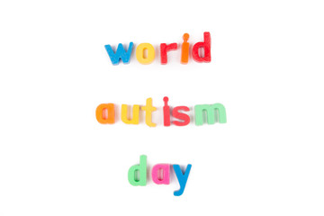 World autism day text isolated on  white background.