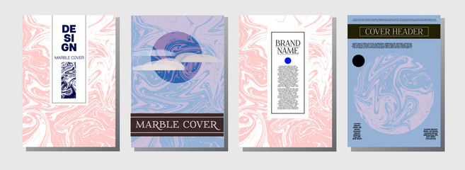Hawaii Purple Blue Marble Ink Texture Cover Set. A4 Vector Liquid Paint Fashion Magazine Design. Ebru Ink Wash Tropical Package Background. Corporate Identity Exotic Marble Ink Texture Cover.