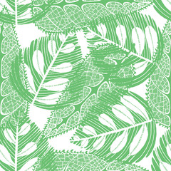 Imprint leaves - seamless pattern. Green leaves on white backgro