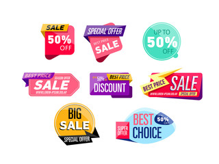 Sale stickers isolated on white background
