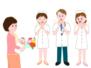 産婦人科の病院を、赤ちゃんを産んだ母親が退院するのを見送る医者と看護師