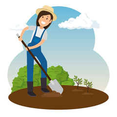 farmer girl growing plants