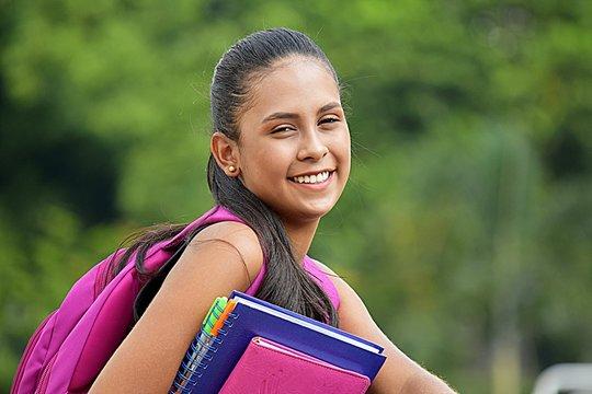 Latina Teenage Girl Student Smiling