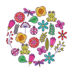 set of spring theme nature flowers love birds butterflies ladybugs frog dragonfly vector illustration drawing design