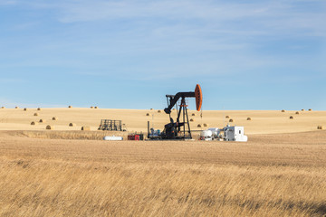 A single oil pump jack in the farm field. Oil industry equipment. Calgary, Alberta, Canada.